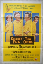 Captain Newman MD, Orig Movie Poster, Gregory Peck, Bobby Darin, Tony Curtis '63